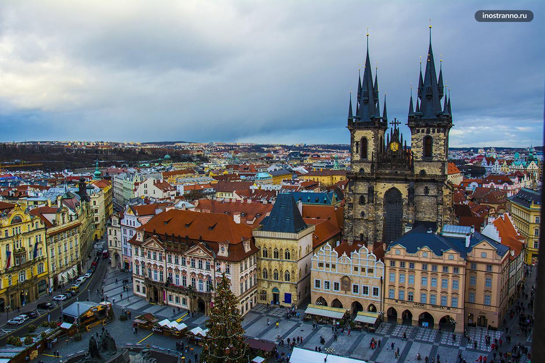 Панорама Праги со смотровой площадки Староместской ратуша