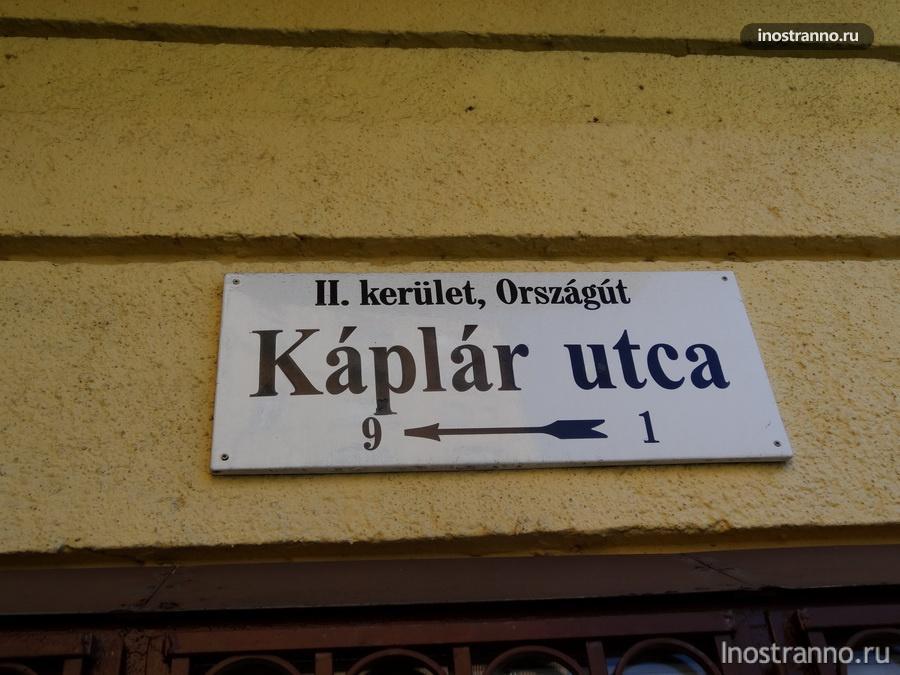 название улиц в Будапеште