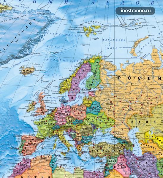 Карта Европы на русском языке