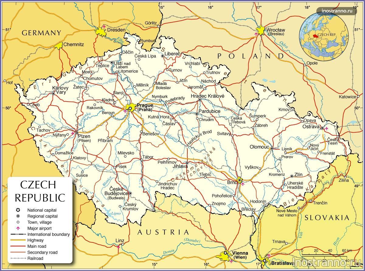 карта Чехии сдорогами и городами