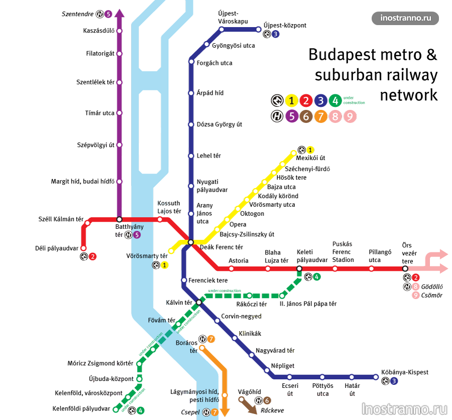 карта метро будапешта