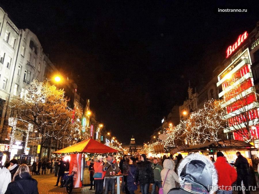 Вацлавская площадь на Новый год