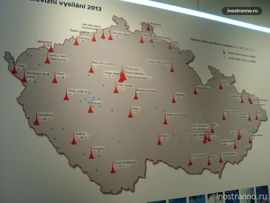 Карта Чехии с телевизионными вышками