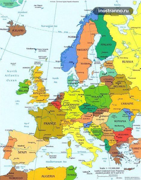 Большая подробная политическая карта Европы