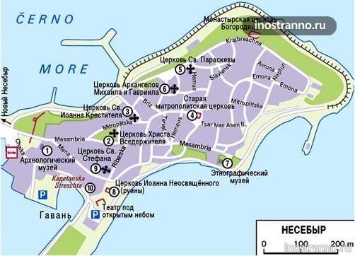 Карта несебра с Достопримечательностями
