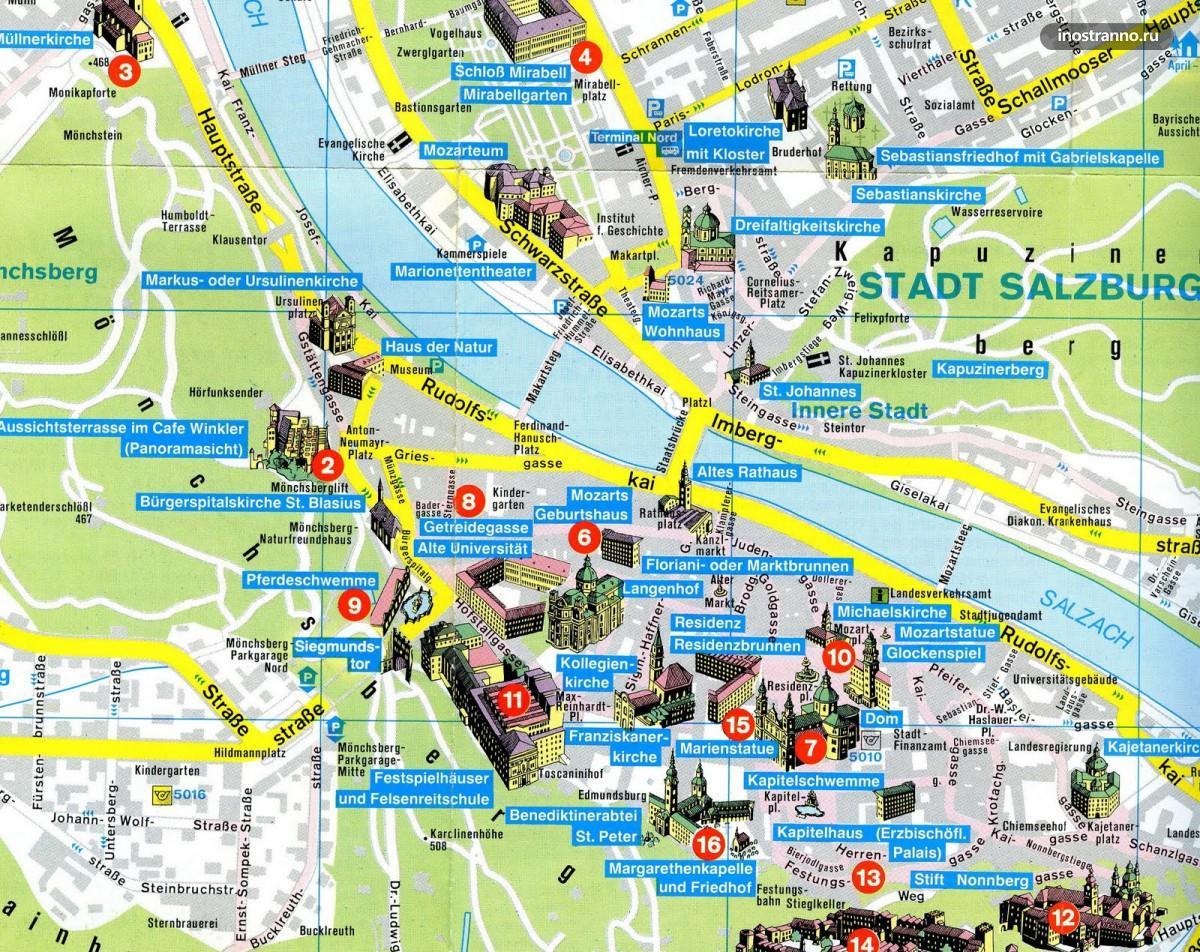 карта Зальцбурга с достопримечательностями