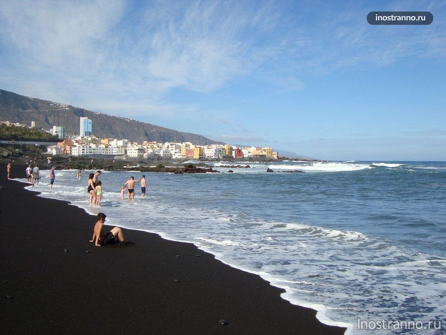 пляж с черным песком на Тенерифе