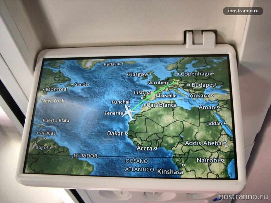 карта Европы в самолете