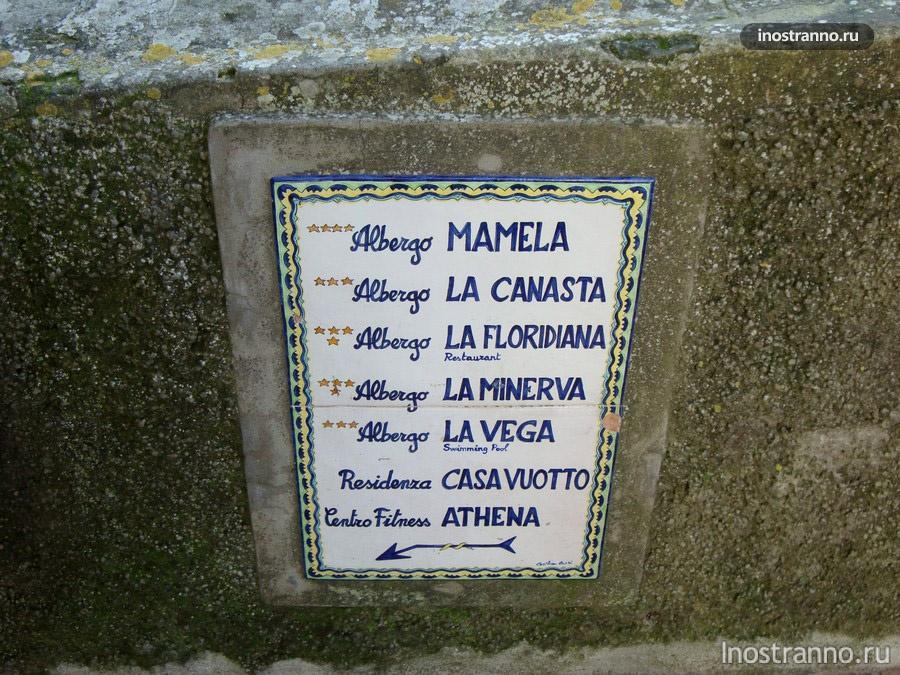 указатели на острове Капри