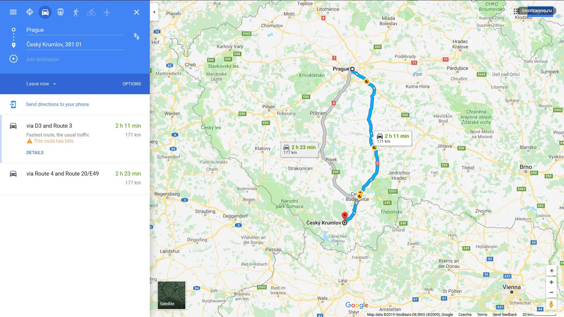 Из Праги в Чешский Крумлов время в пути на авто