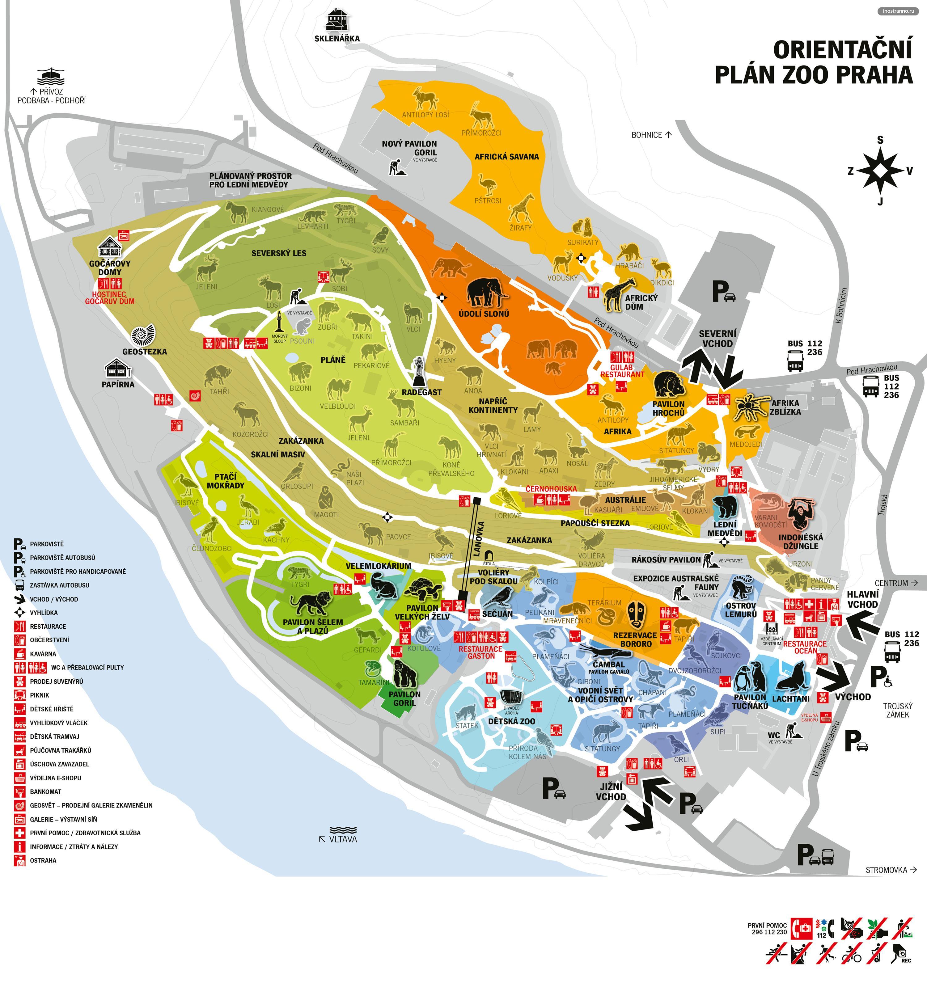 Карта зоопарка Праги