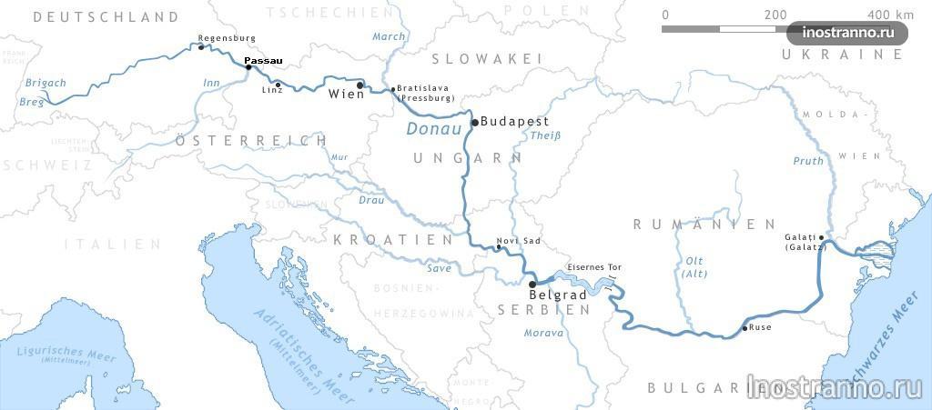 река дунай на карте