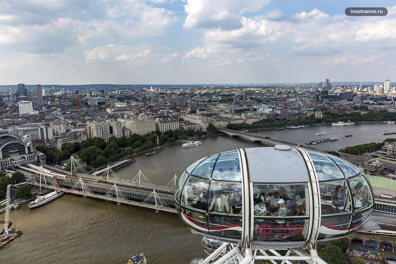 Лондон колесо обозрения Глаз вид из кабины