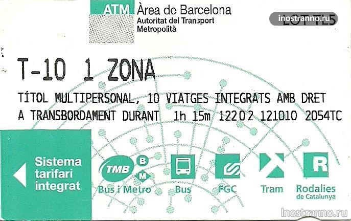 билет на метро Барселона