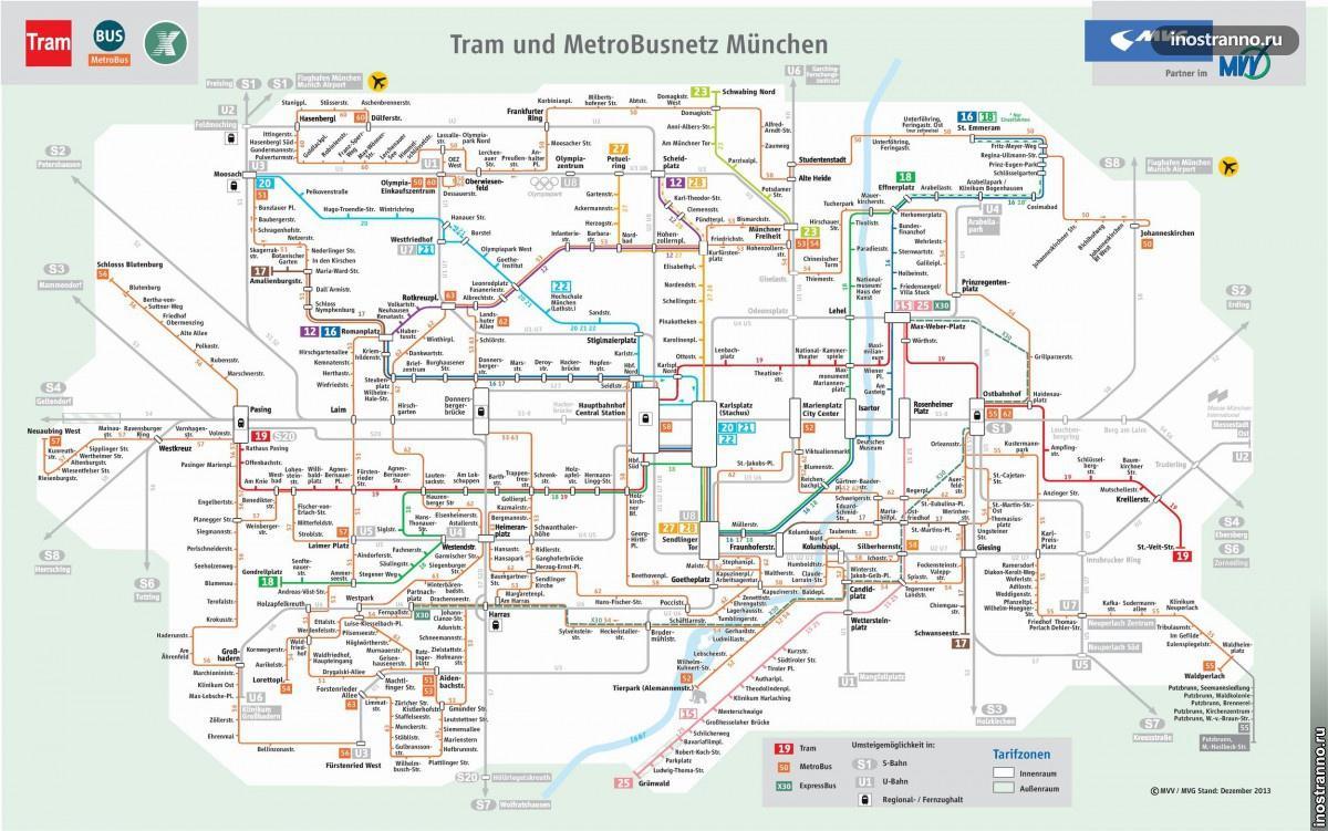 карта трамваев в Мюнхене