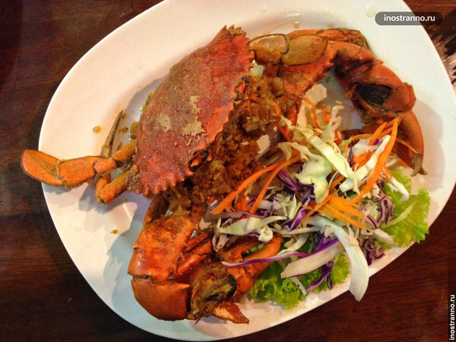 жареный краб морепродукты тайланд