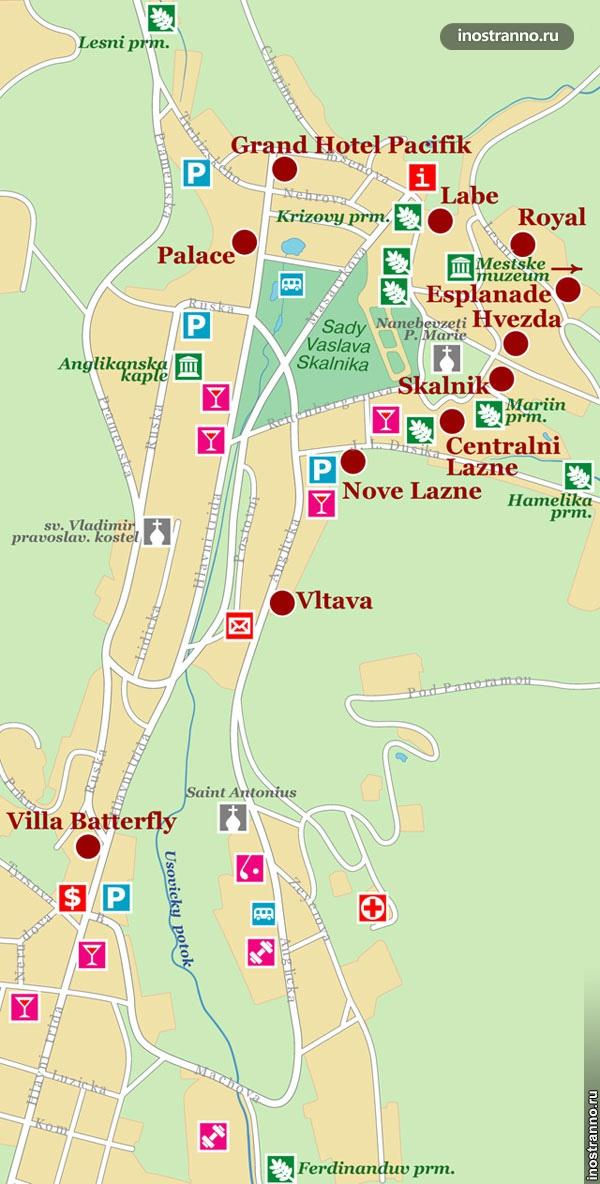 карта отелей в марианских лазнях