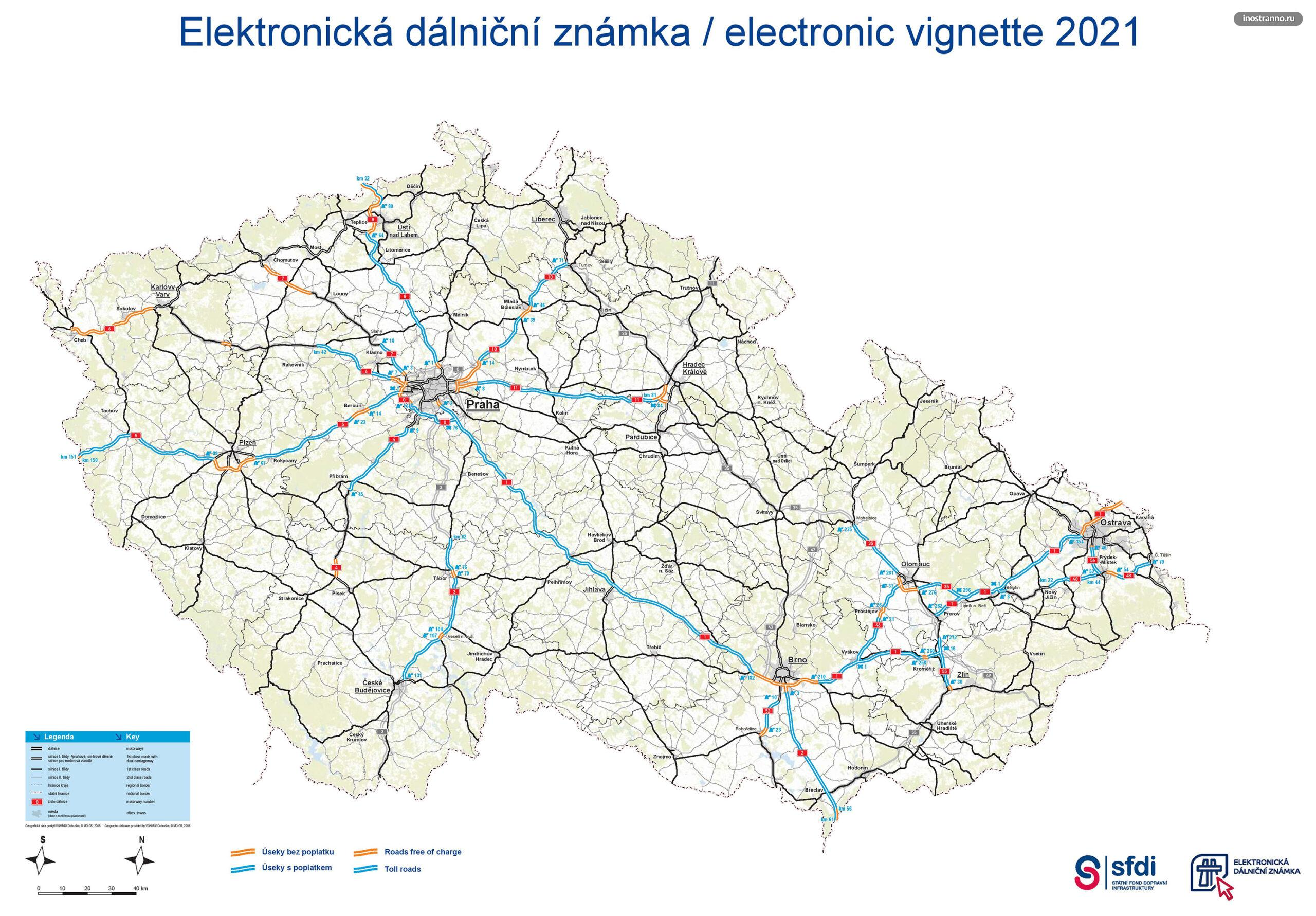 Карта платных и бесплатных дорог Чехии