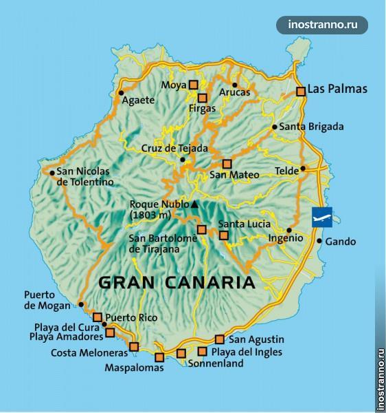 Карта курортов Гран-Канарии