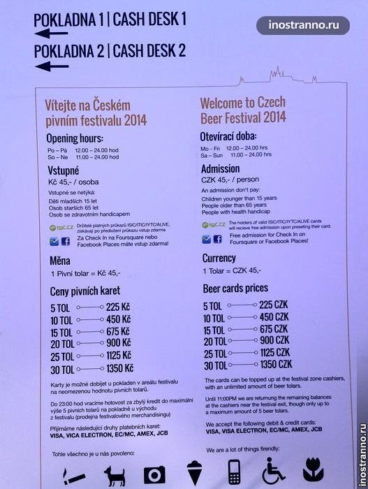 Пивной фестиваль в Праге - Цены
