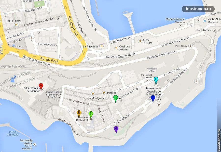 карта старого города монако