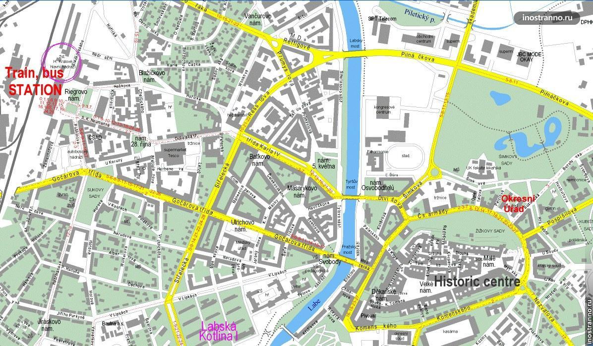 карта градец-кралове