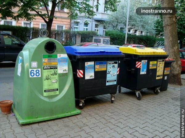 Баки для сортировке мусора в Европе
