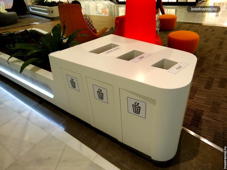 Сортировка мусора в торговых центрах