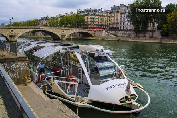 Прогулка на кораблике Batobus по Сене в Париже