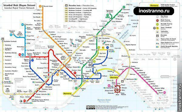 Карта метро, автобусов и трамваев Стамбула