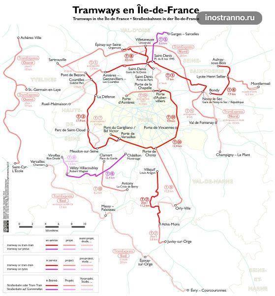 Карта трамваев Парижа