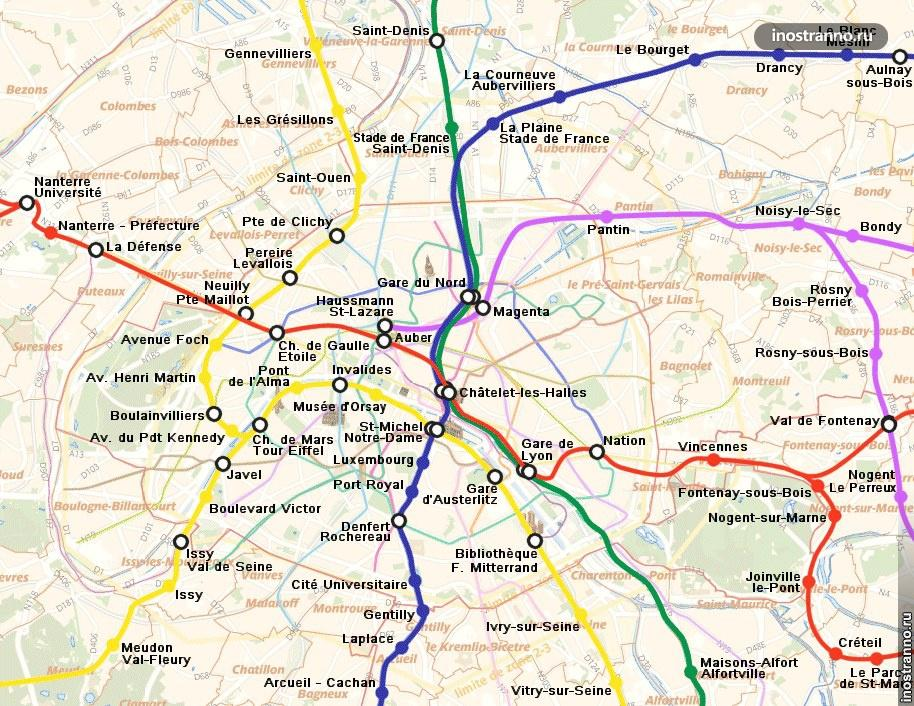 Электричка RER в Париже, карта