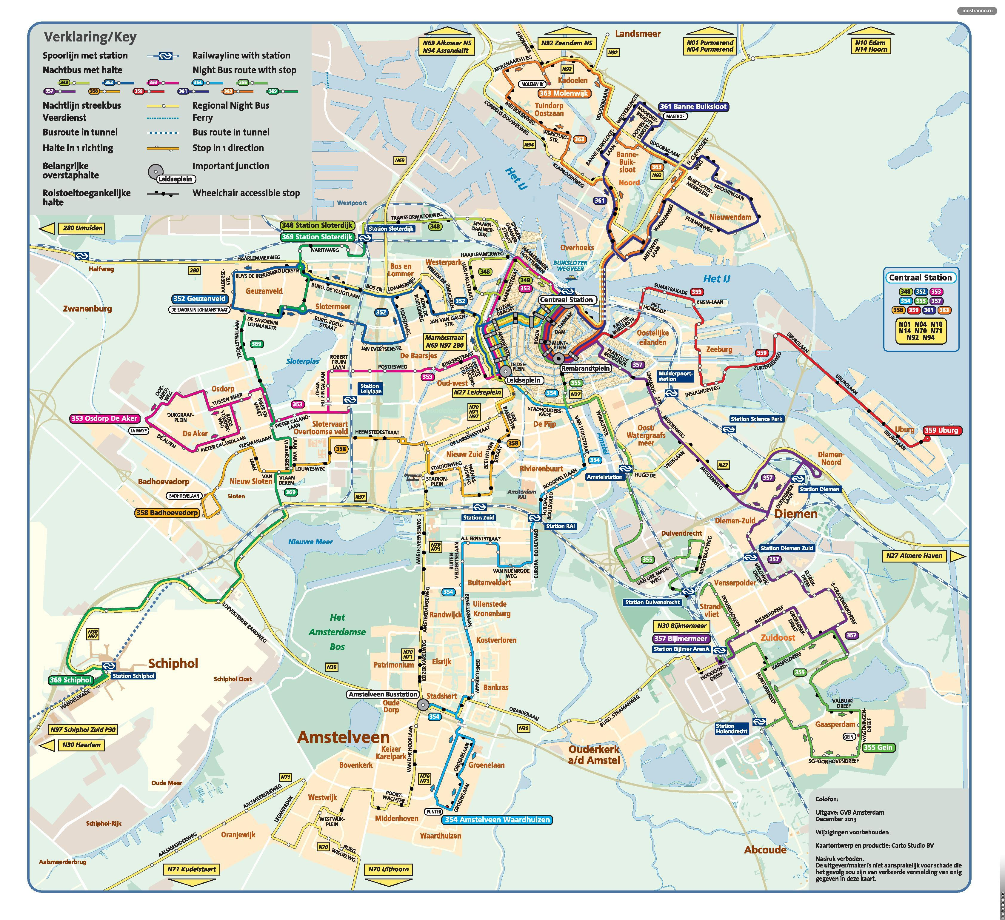 Amsterdam Night Bus Routes Иностраннору - Amsterdam night bus map