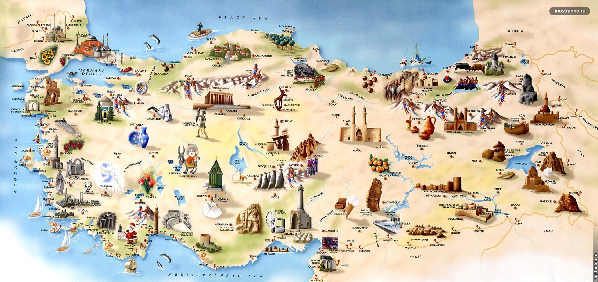 карта турции с достопримечательностями