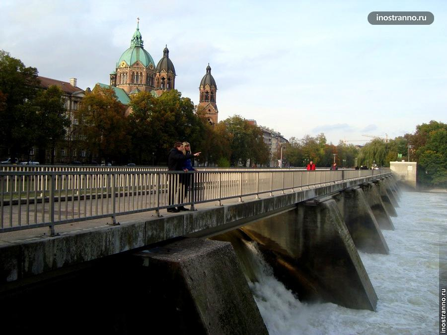 Парк на реке Изар в Мюнхене