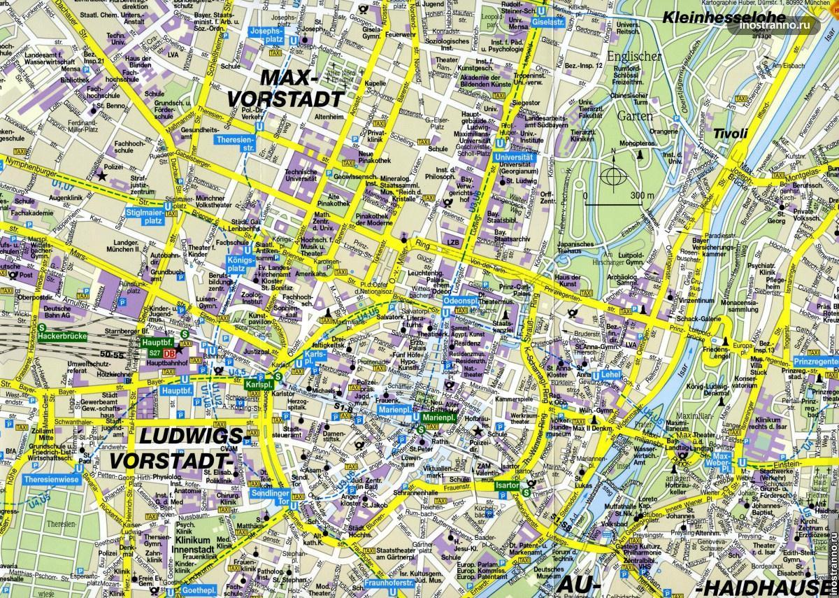 Мюнхен, карта города с достопримечательностями