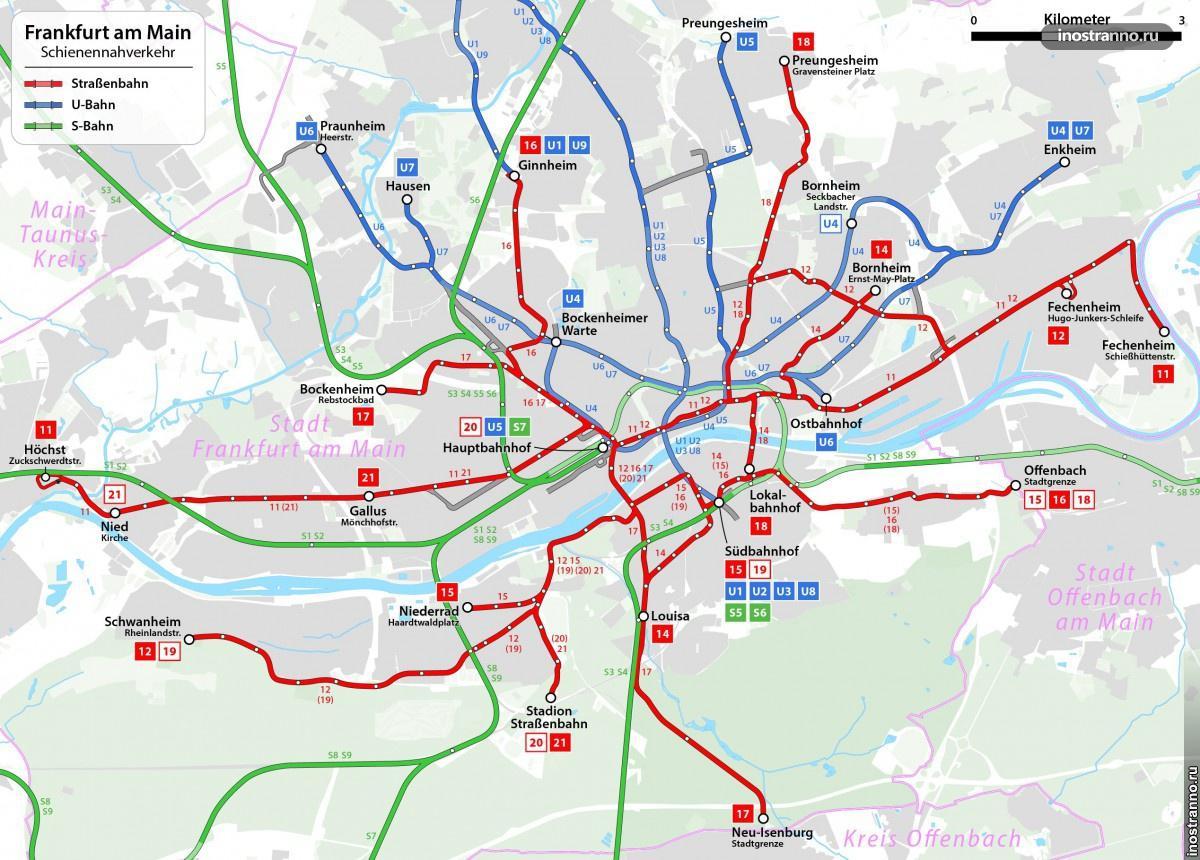 Трамвай Франкфурта - Карта