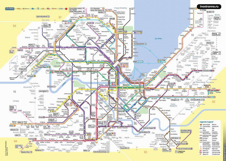 Карта транспорта Женева