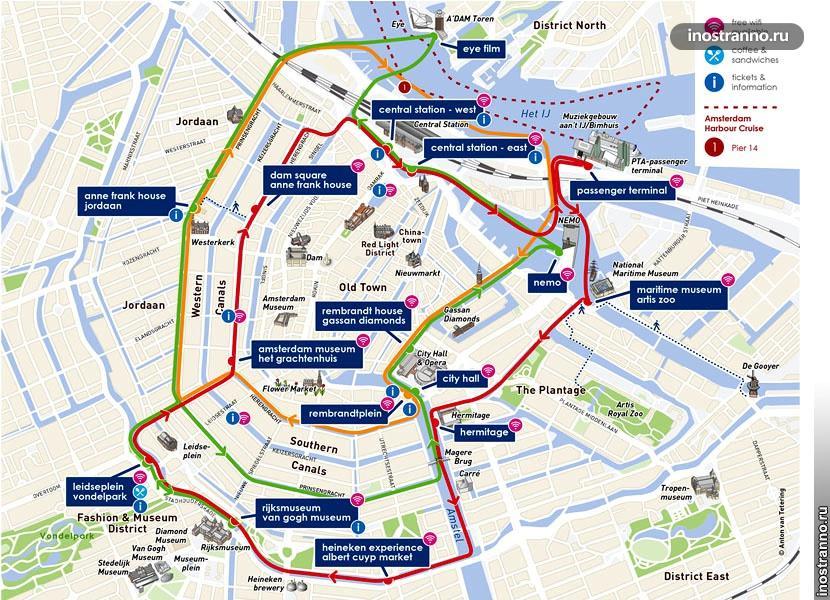 Маршруты корабликов по Амстердаму