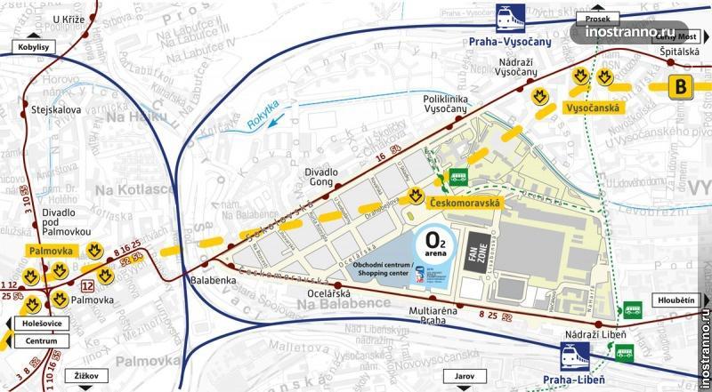 O2 Arena в Праге карта