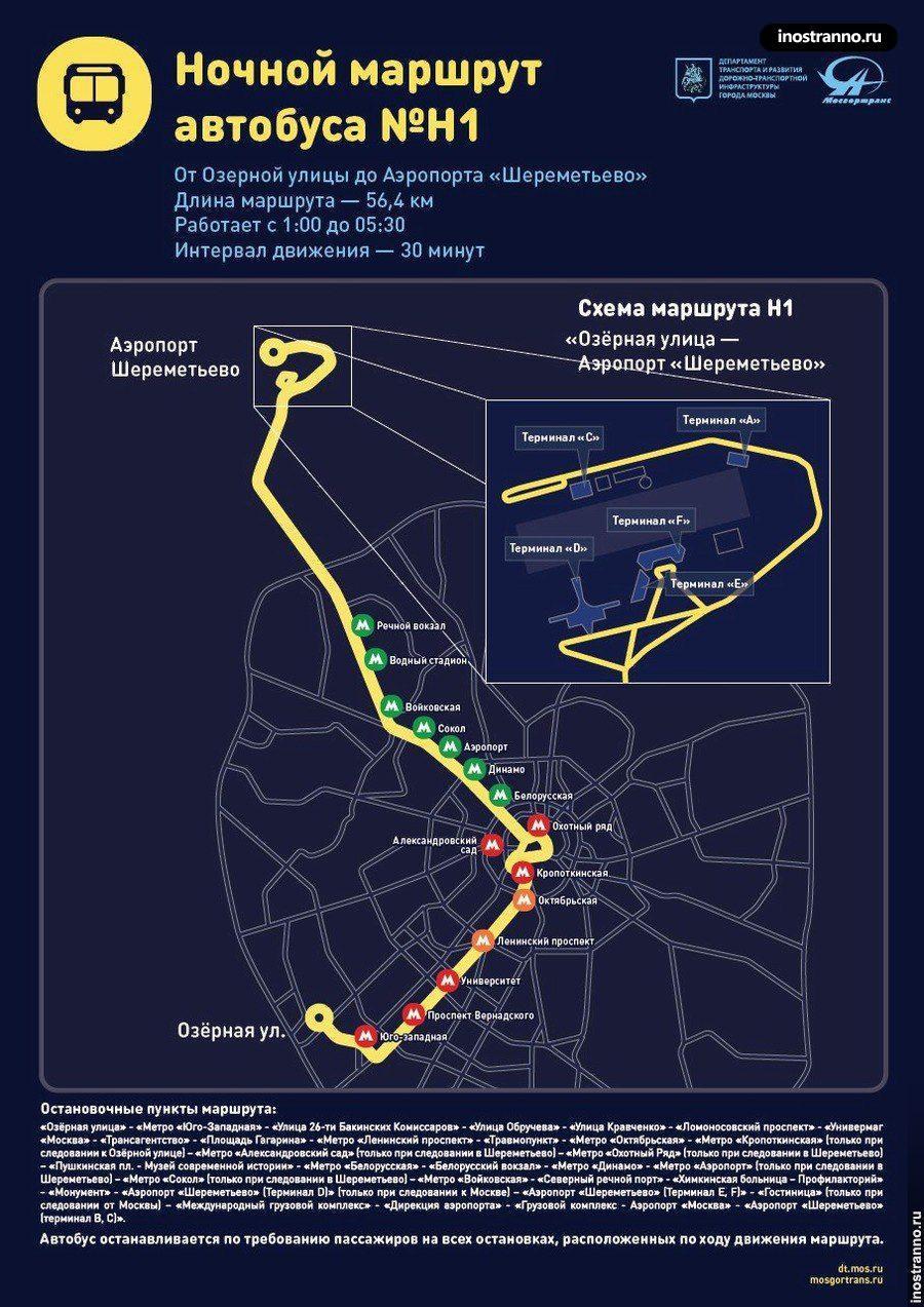 Ночной автобус до Шереметьево