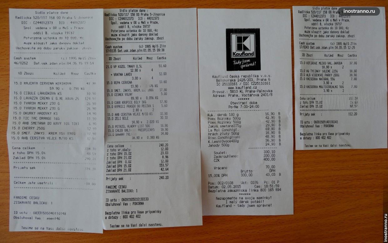 Цены, Чек из магазина Праги