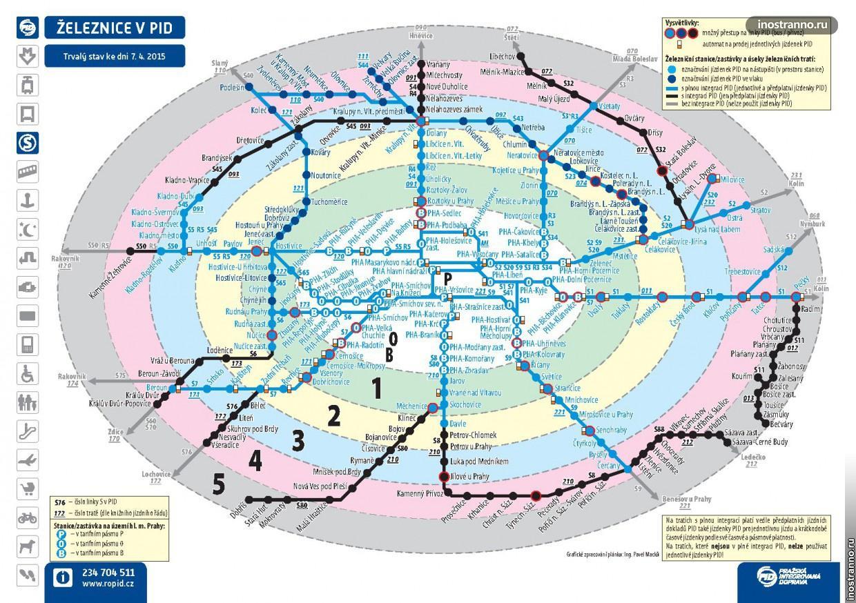 Тарифные зоны транспорта Праги