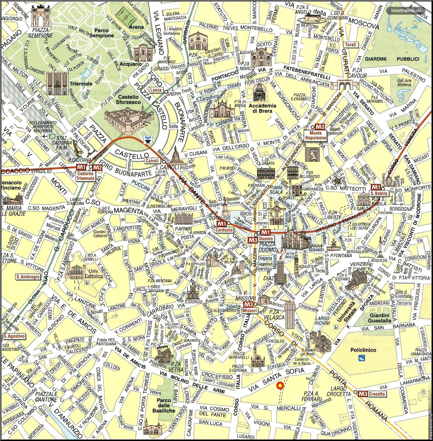 Карта достопримечательностей Милана