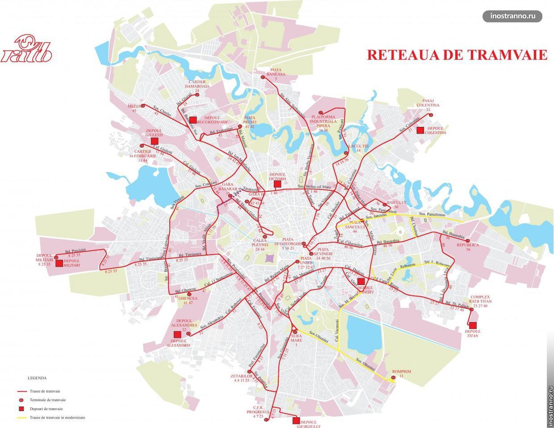 Схема движения трамваев в Бухаресте