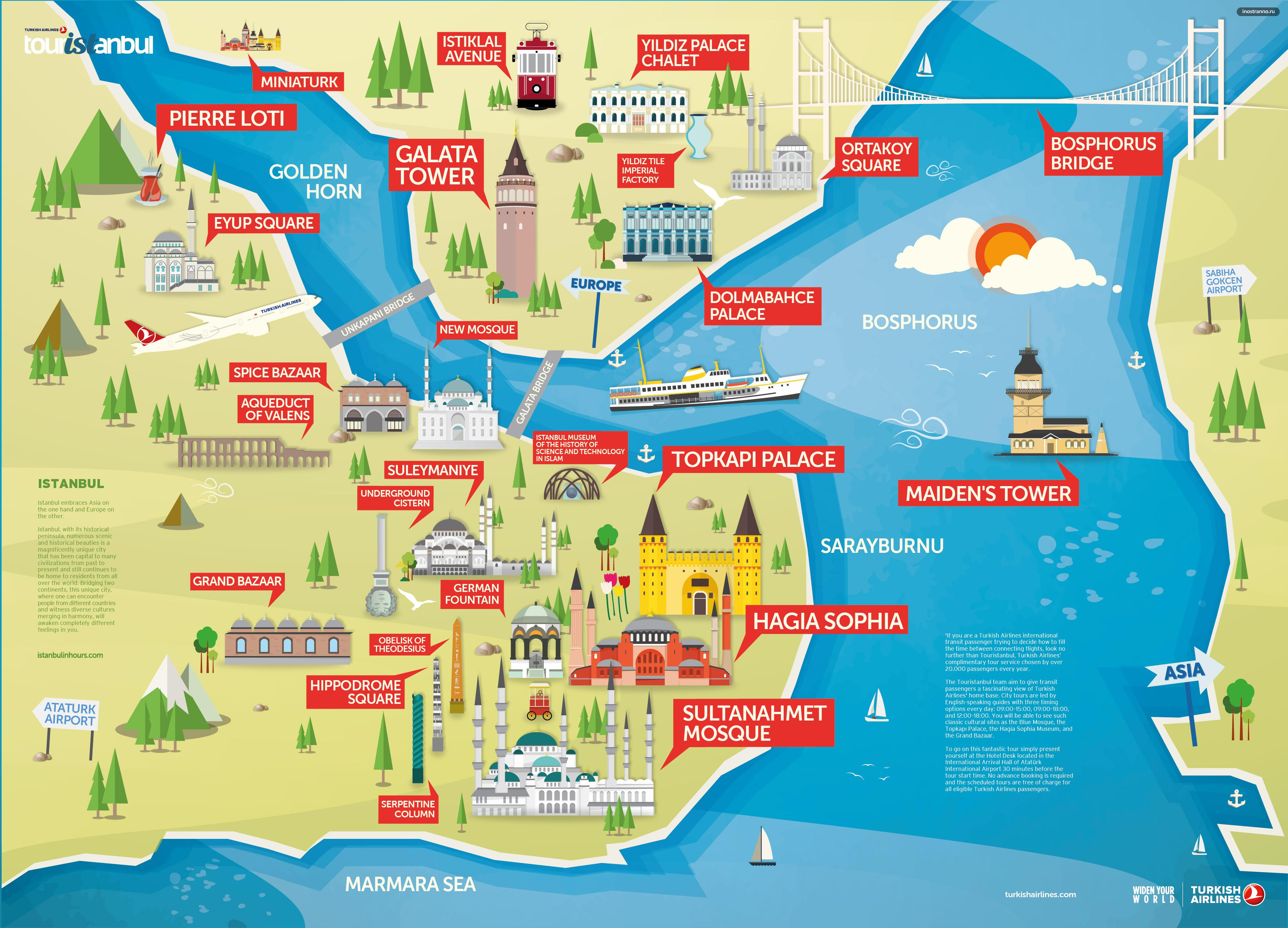Стамбул карта достопримечательностей