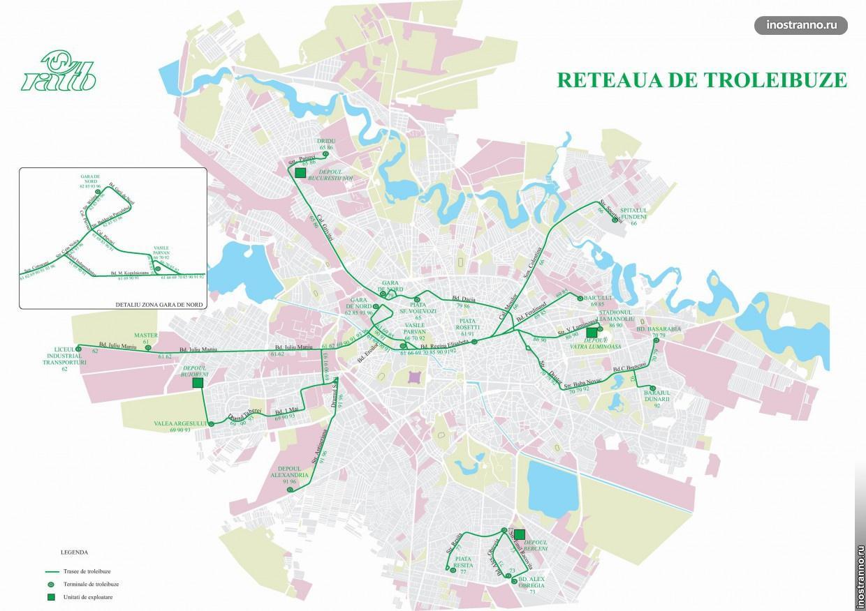 Схема маршрутов троллейбусов в Бухаресте