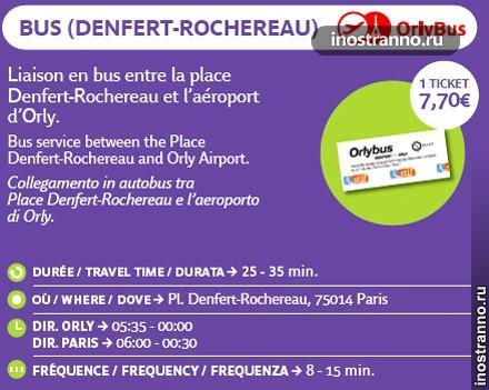 Из аэропорта Орли до Парижа цена
