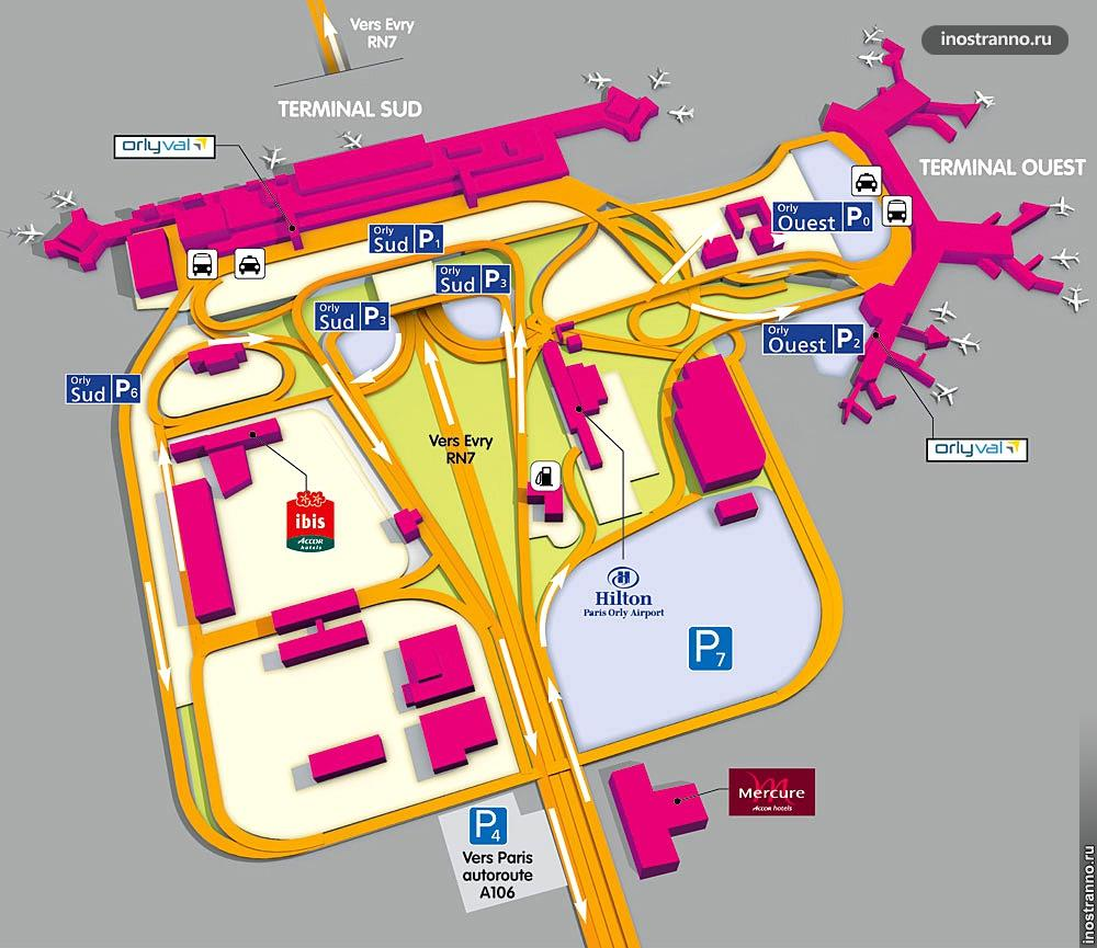 Аэропорт Орли в Париже, карта