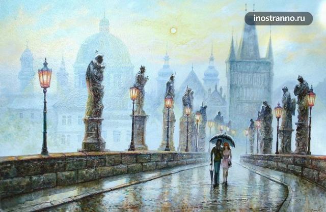 Дождь на Карловом мосту